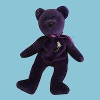 """Oct. 27, 1997 Ty Rare  8"""" Purple Princess Beanie Baby Honoring Princess Diana"""