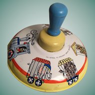 Colorful Vintage Ohio Art Circus Parade Metal Spinning Top