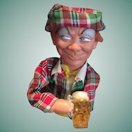 Circa 1950s Marked 'Foreign' Beer Drinking Scottish Man Squeaker Toy