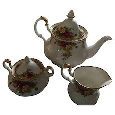 1962 Royal Albert Old Country Roses Tea Pot, Creamer, Covered Sugar Bowl