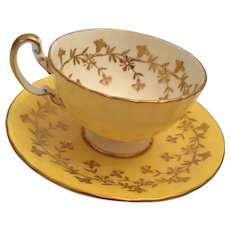 1960s Aynsley, England Bone China 28 Gilt-Trimmed Buttercup Colored Tea Cup and Saucer
