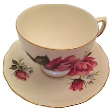 1960s 'Royal Vale' Bone China Tea Cup and Saucer with Roses