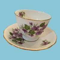 1960s Royal Vale  Bone China Teacup and Saucer with Violets