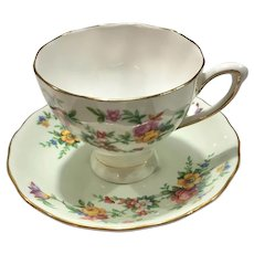 Mid-Century English Bone China Numbered Colclough Tea Cup and Saucer