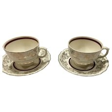 Pair of Two Mid-century Wood's Ivory Ware England Teacups and Saucers