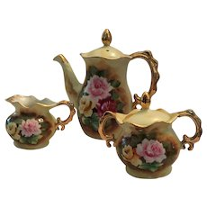 Enesco, Japan Fine China Floral Covered Teapot and Matching Cream and Covered Sugar