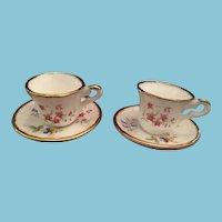 Vintage Set of Two Miniature Fenton Fine Bone China Tea Cups and Saucers