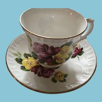 1960s Crown Staffordshire Red and Yellow Rose Tea Cup and Saucer