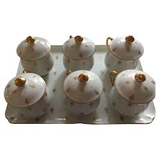 Elegant Limoges Giraud Fleur de Lis Lidded Demi-Tasse Cup and Tray Set