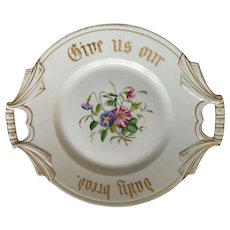 """Very Old 'Give Us Our Daily Bread' 11"""" White Bone China Plate"""