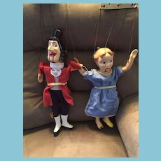 Set Of Two 1950s Sawdust Marionettes / Puppets Wendy & Captain Hook