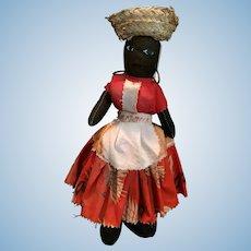 Vintage Jamaican Handcrafted 'Calypso Momma' Black Rag Doll