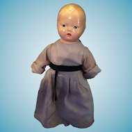 """Circa 1920s-30s Composition 14""""  Monk Doll Marked G N"""