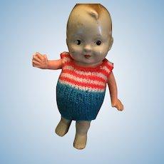 "1920s  Bathing Baby Bud 7"" Tall Doll."