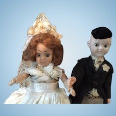 Circa 1940s Hard Plastic Bride and Groom by Duchess Dolls Corp