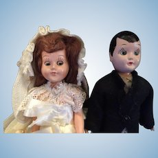 Circa 1940s Duchess Dolls Beautiful Bride and her Handsome Groom