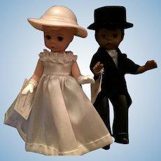 "Beautiful Madame Alexander 5"" Bride and Black Groom"
