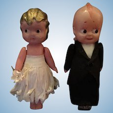 Circa 1920s-30s Celluloid Kewpie Bride and Groom