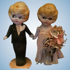 Circa 1920s-30s Japanese Bisque Kewpie Bride and Groom