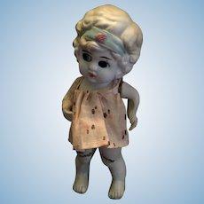 Circa 1920s-30s Souvenir Japanese Bisque Wide-Eyed Girl 小さな人形