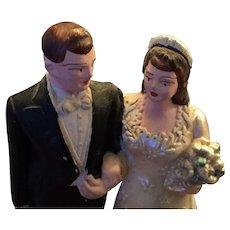 "Sweet circa 1940s Chalkware 4 1/4"" Wedding Cake Topper"