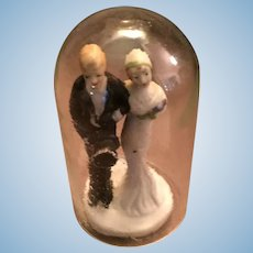 "Circa 1920s -30s Porcelain 3"" Bride and Groom Cake Topper"