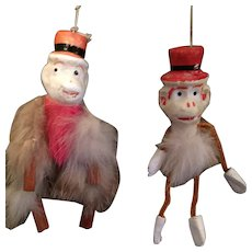 Two Circa 1930s-40s Furry Carnival Prize Puppet Monkeys