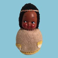 1940s-50s Rolly-polly Stuffed Indian-Faced Doll