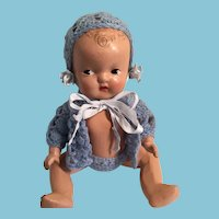 "Sweet 1930s  9 1/2"" Reliable Composition Baby Doll"