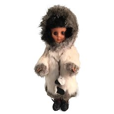 """13"""" Vintage Hard Plastic Inuit Doll in a Bunny Fur Parka"""