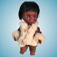 1960s Chocolate Brown Vinyl Kimmie Inuit Doll