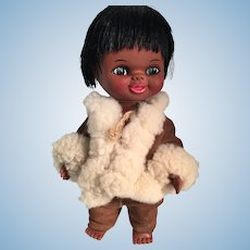 1960s Chocolate Brown Vinyl Kimmie Inuit Doll