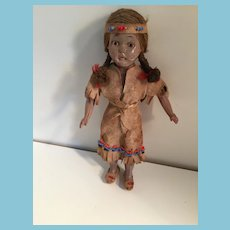 Skukum Celluloid Doll in First Nations Suede Costume