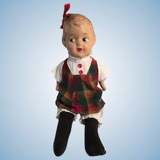 """1940s 15"""" Reliable Composition Hairbow Peggy Doll"""