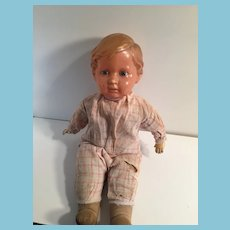 """1920s -1930s Schildkrot 15"""" Turtle Marked Celluloid Head Character Doll"""