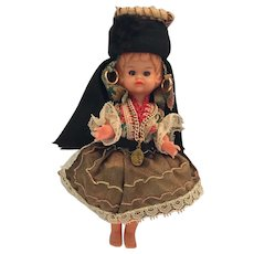 """Circa 1950s Hard Plastic 6 1/2"""" Doll from Portugal"""