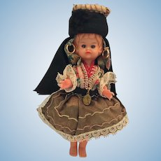 "Circa 1950s Hard Plastic 6 1/2"" Doll from Portugal"