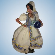 """1970s Marin Traditional 9"""" Gypsy Doll with Water Jug"""