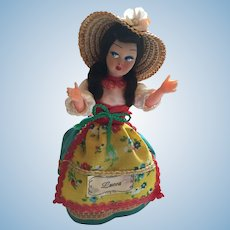"Circa 1980s  8"" Hard Plastic Doll in a traditional costume from Lucca, Italy"