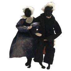 Circa 1970s Dried Apple Head Black One-of-a-kind Folk Art Old Couple