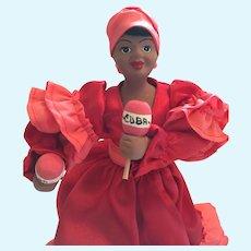 "8"" Hand-Made Ceramic-Type Cuban Doll with Maracas"