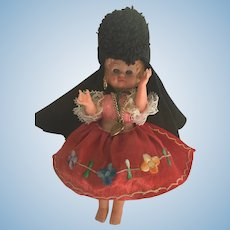 "Circa 1950s-60s hard plastic 7"" Costume Doll with Seven Colorful Skirts"