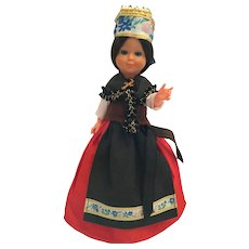 """Circa 1960s Hard Plastic 8"""" Doll dressed in a French Costume"""