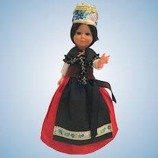 "Circa 1960s Hard Plastic 8"" Doll dressed in a French Costume"