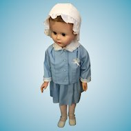 """Circa 1960s 28"""" Walking Chubby Child Doll with Mini Togs Suit"""