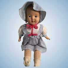"""1930s 23"""" Composition Doll with a  Blue Dress Marked 'Betty'"""