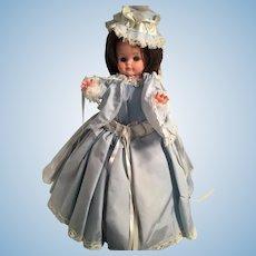 """1950s  18"""" Hard Plastic Boudoir Doll in Billowing Blue Dress"""