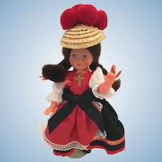 1950s-60s Hard Plastic Doll in Black Forest Costume