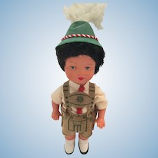 1950s-60s Hard Plastic Boy Doll in Traditional German Costume