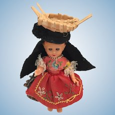 1950s-60s 5 inch Hard Plastic Souvenir Doll from Portugal